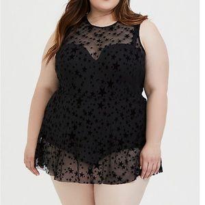Torrid size 4 D/DD Star mesh swimsuit dress